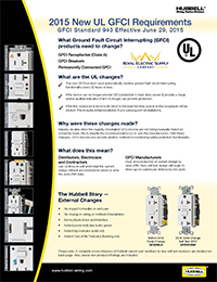 Hubbell Wiring - GFCI New Code Requirements - Royal Electric ... on receptacles wiring, electrical conduit, electrical wiring, power cord, conduit wiring, plumbing wiring, junction box, earthing system, 3 phase breaker panel wiring, circuit wiring, circuit breaker, afci wiring, electric motor, duplex wiring, electric power distribution, amp wiring, distribution board, knob-and-tube wiring, dimmer wiring, daisy chain wiring, alternating current, electricity wiring, 220 volt to 110 volt wiring, national electrical code, three-phase electric power, electrical engineering, diy wiring, timer wiring, wiring diagram, power cable, led wiring, ground and neutral, ground wiring, lutron wiring, hot tub wiring, low voltage wiring, extension cord,