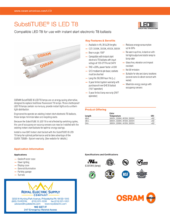 Osram Sylvania Substitube Led T8 Brochure Front Page