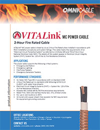 Omnicable Vitalink 2 Hour Fire Rated Mc Power Cables